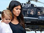 Penelope's first helicopter! Pregnant Kourtney Kardashian holds baby daughter in her lap for family ride to the Hamptons