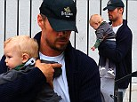 Either Axl is a wiggly little guy or Josh Duhamel simply likes exercising a little creativity. The 41-year-old Transformers actor was spotted leaving breakfast Saturday morning showcasing three new baby-carrying positions