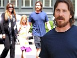Bearded Christian Bale and his pregnant wife Sibi Blazic grab lunch with daughter Emmeline in Brentwood