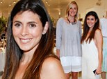 Club Monaco: Jamie-Lynn Sigler, right, spotted with Kristen Taekman, left, was angelic in a white maxi dress as she attended he Hampton Magazine Celebration of the Club Monaco Southampton store opening in New York on Saturday
