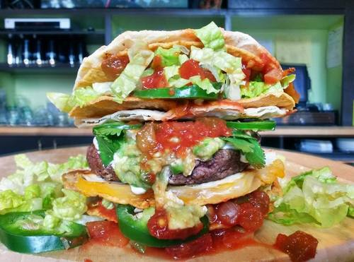 The Taco Bun Burger. Available for a limited time, only at PYT.