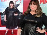 Melissa McCarthy is edgy chic in stylish leather frock and animal print heels at Los Angeles premiere of new film Tammy