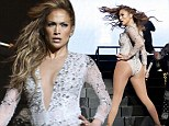 Jennifer Lopez puts her famous assets on display in yet ANOTHER plunging body suit as she takes to the stage at KTUPHORIA event