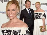 Pierce Brosnan and Toni Collette don chic b&w ensembles for the NYC premiere of their film A Long Way Down