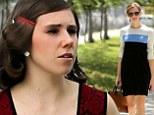 Allison Williams wears chambray shirt-dress while Zosia Mamet wears red peplum frock on the Brooklyn set of Girls