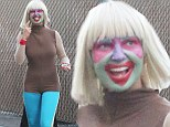 Clowning around! Sia Furler wears brightly coloured face paint as she arrives to Jimmy Kimmel Live in figure-hugging bodysuit
