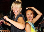 Party girls: Myleene Klass and Kate Thornton enjoy a good boogie at Barry Knight's 50th birthday