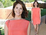 Pretty in peach: Gemma Arterton wears vibrant minidress to see Arcade Fire at Barclaycard presents British Summer Time