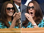LONDON, ENGLAND - JULY 06:  Catherine; Duchess of Cambridge attends the mens singles final between Novak Djokovic and Roger Federer on centre court during day thirteen of the Wimbledon Championships at Wimbledon on July 6, 2014 in London, England.  (Photo by Karwai Tang/WireImage)