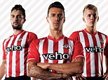 Traditional values: Jay Rodriguez (left), Jose Fonte (centre) and James Ward-Prowse modelled the new kit