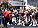 The future of the Tour remains in doubt for British rider Mark Cavendish - who had been hoping to take the leader's yellow jersey in his mother's hometown of Harrogate, Yorkshire - after he was left with a dislocated shoulder following a horror crash just yards from the finish line