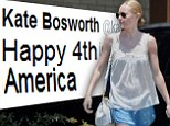 'Happy 4th America!' Kate Bosworth parades her pale pins in blue baggy shorts and tweets holiday greetings