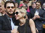Bringing the thunder! Chris Hemsworth takes a break from filming new Avengers flick to get a courtside seat to Wimbledon finals with wife Elsa Pataky