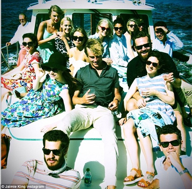 'Portrait of Heaven amongst friends': Jaime King shared this yacht snap of everyone from Taylor Swift's party except for Lena Dunham, including Emma Stone and Andrew Garfield