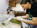 Kristi Tobias, right, and Bruce Cumming prepare packets of a variety of recreational marijuana named 'Space Needle'