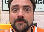 Teary: Kevin Smith posted a picture of his tear-streaked emotional face shortly after visiting the Star Wars set in London a week ago