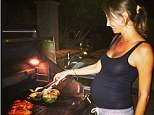 'Farmers market feast for three': Mom-to-be Stacy Keibler satisfies her pregnancy cravings as she cooks treats on the BBQ