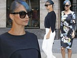 Blue-haired Nicole Richie wears caped black blouse and floral frock for GMA appearance in NYC