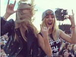 Moshing out: Cara Delevingne and Ellie Goulding let their hair down as McBusted perform  in Hyde Park on Sunday evening