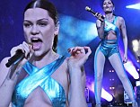 Suitable for a family festival? Jessie J takes to the stage in metallic blue sheer jumpsuit which leaves little to the imagination at Forest Live