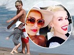 Gwen Stefani takes her three sons on a fun beach playdate with Rachel Zoe's children... while the two stars gossip in the sunshine