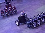 Hot wheels: The Top Gear presenters didn't seemed fazed by driving the eight-wheeled modified chariots