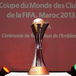 The FIFA Club World Cup 2013 trophy is displayed