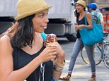 What a mess! Rosario Dawson laughs off embarrassing blunder after dripping ice-cream all down her black top during sunny New York stroll
