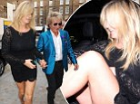 Penny Lancaster puts on a VERY leggy display in lacy black mini-dress as she and Rod Stewart head to Chiltern Firehouse