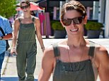 Ashley Greene, 27, went out to lunch with friends in LA on Monday and put her toned arms on display in a pair of army green overalls