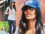 Padma Lakshmi, 43, cookbook author and host and judge of reality cooking competition show Top Chef headed to the gym in New York on Monday