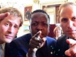 We want you: Princes Harry and William pose with internet entrepreneur Jamal Edwards at the Buckingham Palace launch of the Queen's Young Leaders Programme, a new initiative to find future Commonwealth leaders