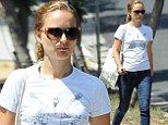 Enjoying her day off! Natalie Portman keeps it cozy and casual in jeans and T-shirt following trip in June to Shanghai