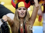 Discovered: 17-year-old Axelle Despiegelaere was pictured cheering on her national team at the World Cup in Brazil two weeks ago