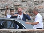 Famous faces: Tennis legend Boris Becker was pictured as he arrives in Montenegro for Novak Djokovic and his fianc�e Jelena Ristic's wedding