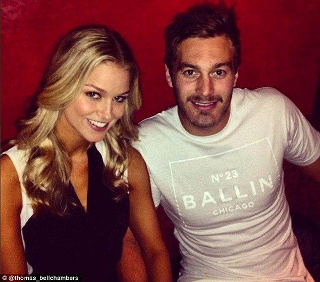 Loved-up: The beauty is currently dating hunky AFL star Tom Bellchambers with the couple celebrating his 25th birthday on Wednesday with a night out together