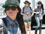Ellen Page shows off her legs in spandex shorts ...then changes into ripped jeans and a flannel shirt after hitting the gym