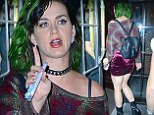 Teenage... nightmare! Katy Perry channels 90s grunge in crushed-velvet miniskirt, flannel sweater, platform boots and studded choker for night on the town