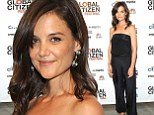Katie Holmes keeps things simple with black jumpsuit and fresh-faced make-up at charity event