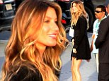 Grand entrance: Gisele Bundchen arrived at the World Cup closing ceremony rehearsal at Maracana Stadium in Rio de Janeiro on Saturday