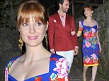 Loved up Jessica Chastain stuns in tight floral dress for gala dinner with her boyfriend in Italy
