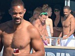 Undressed to thrill! Will Smith shows off his chiselled physique as he goes shirtless aboard a yacht during Spanish vacation