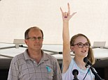 Stay Strong: Cassidy Stay, the lone survivor of a family massacre in Texas, speaks during a community memorial at Lemm Elementary School on Saturday, July 12, 2014, in Spring, Texas