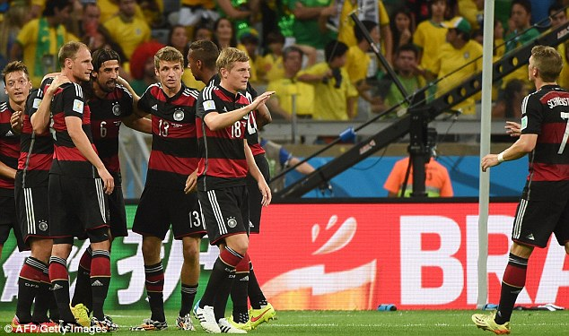 Destruction: Germany humiliated hosts Brazil 7-1 in their semi-final but Diego Maradona says they are over-confident