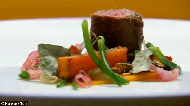 Brent's lamb: The judges applauded the 'honesty' and 'gutsyness' of the dish, telling him that he smashed the three criteria