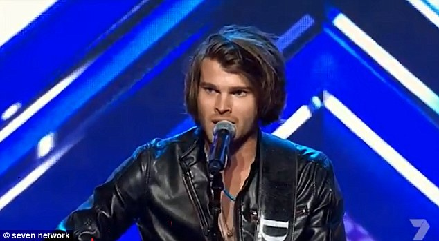Hearthrob: Dean Pritchard strutted on stage to the sound of wolf whistles on The X Factor Australia on Sunday night