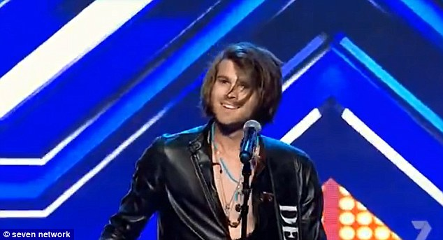 Bare-chest: Dean certainly had the X Factor when it came to his stage presence