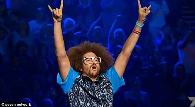 Busting some shapes: Redfoo continually gave his arms a workout