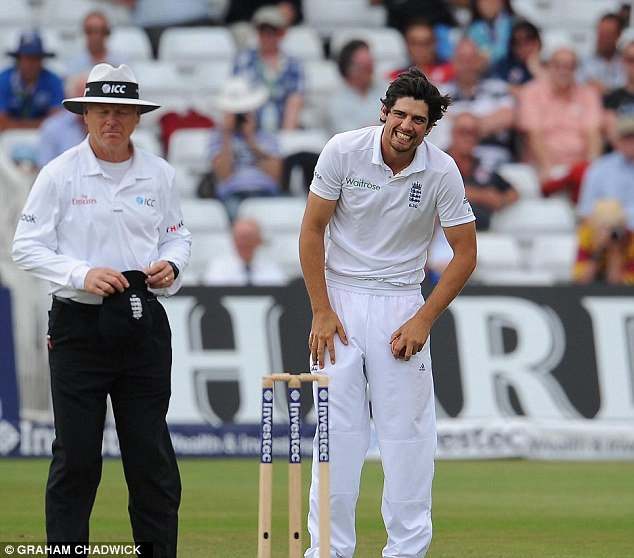 All smiles: The players saw the funny side of things as the England captain brought himself on to bowl