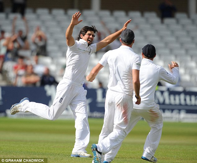Raucous: The skipper reacted with unbridled joy to his first ever Test scalp